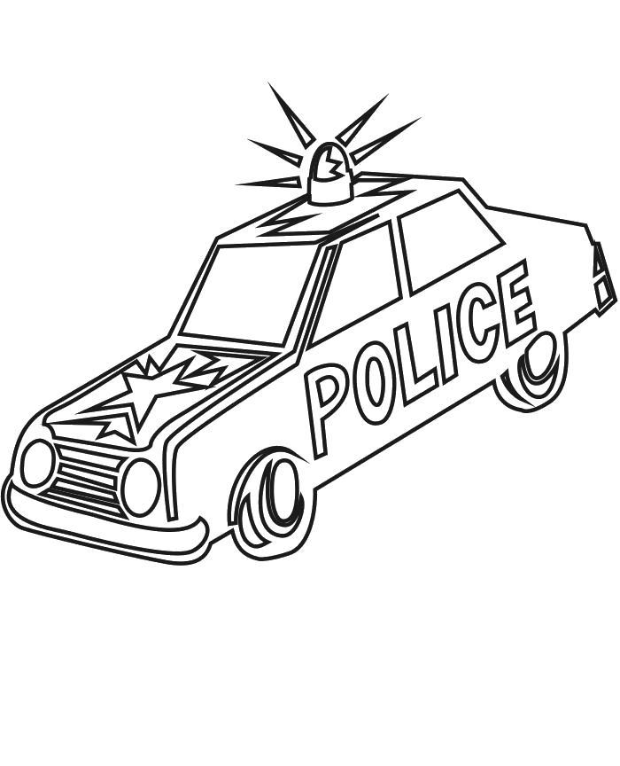 Модель полицейской машины с мигалкой Раскраски машины для мальчиков