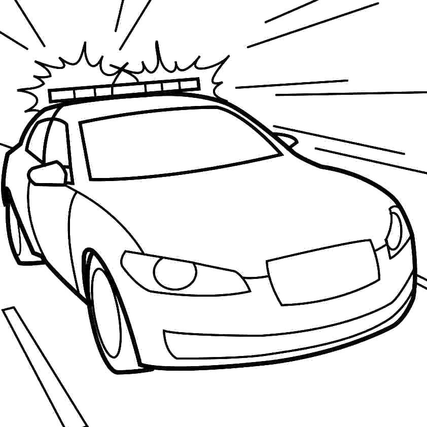 Современная полицейская машина на большой скорости Раскраски машины для мальчиков