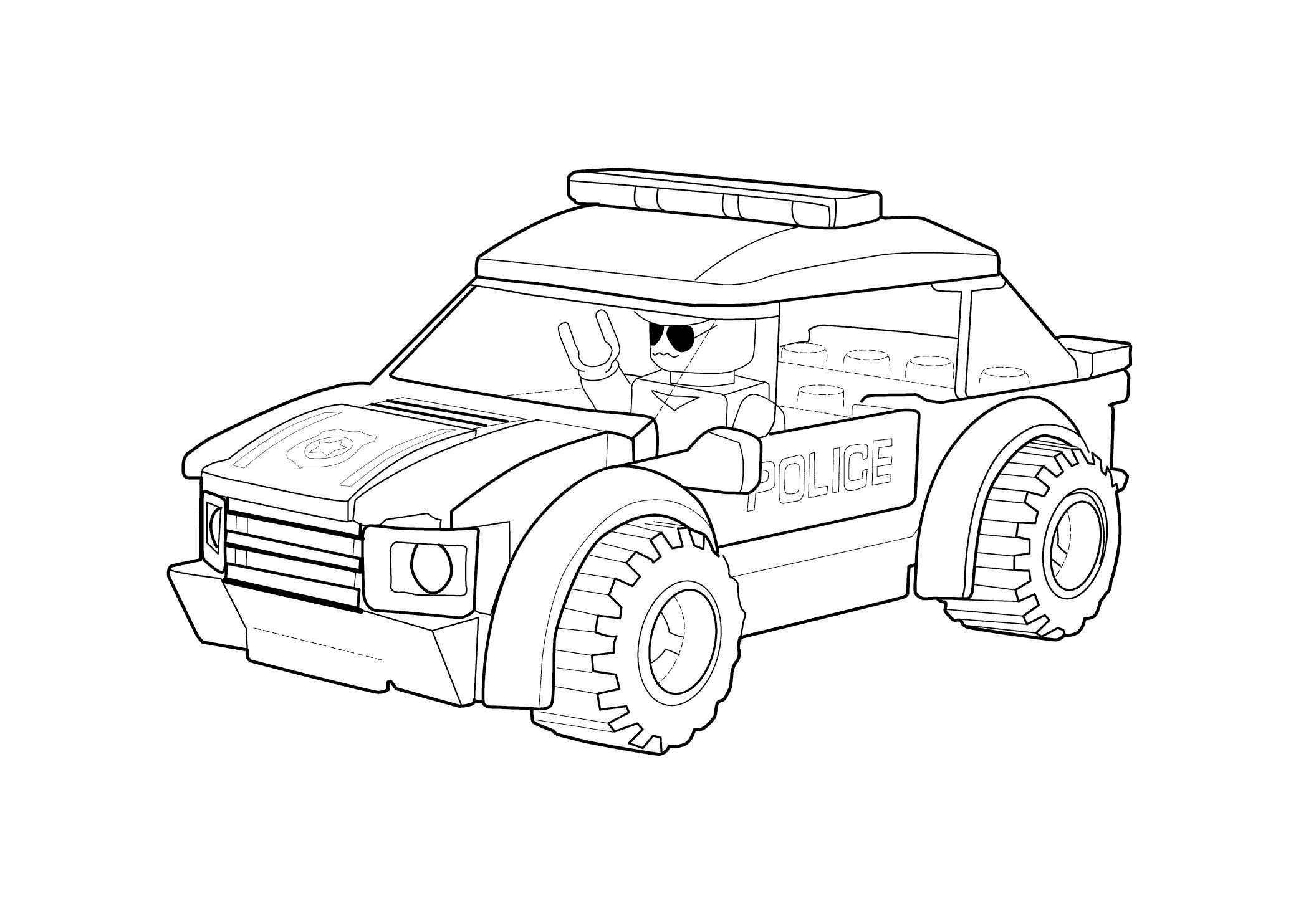 Лего Лего полицейская машина Раскраски машины бесплатноРаскраски для мальчиков