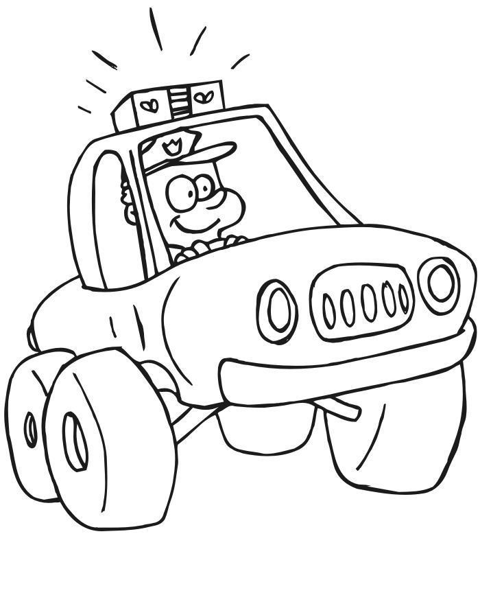 Веселый шериф Раскраски машины для мальчиков