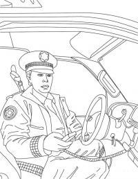 Сложная раскраска полицейский за рулем с рацией Раскраски машины для мальчиков