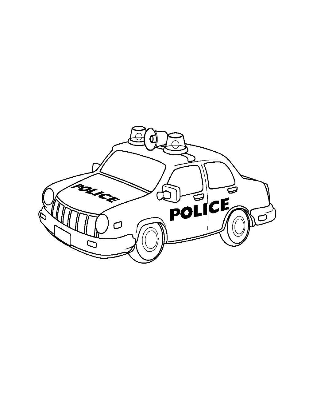 Полицейская машина с мигалками и громкоговорителем Раскраски машины