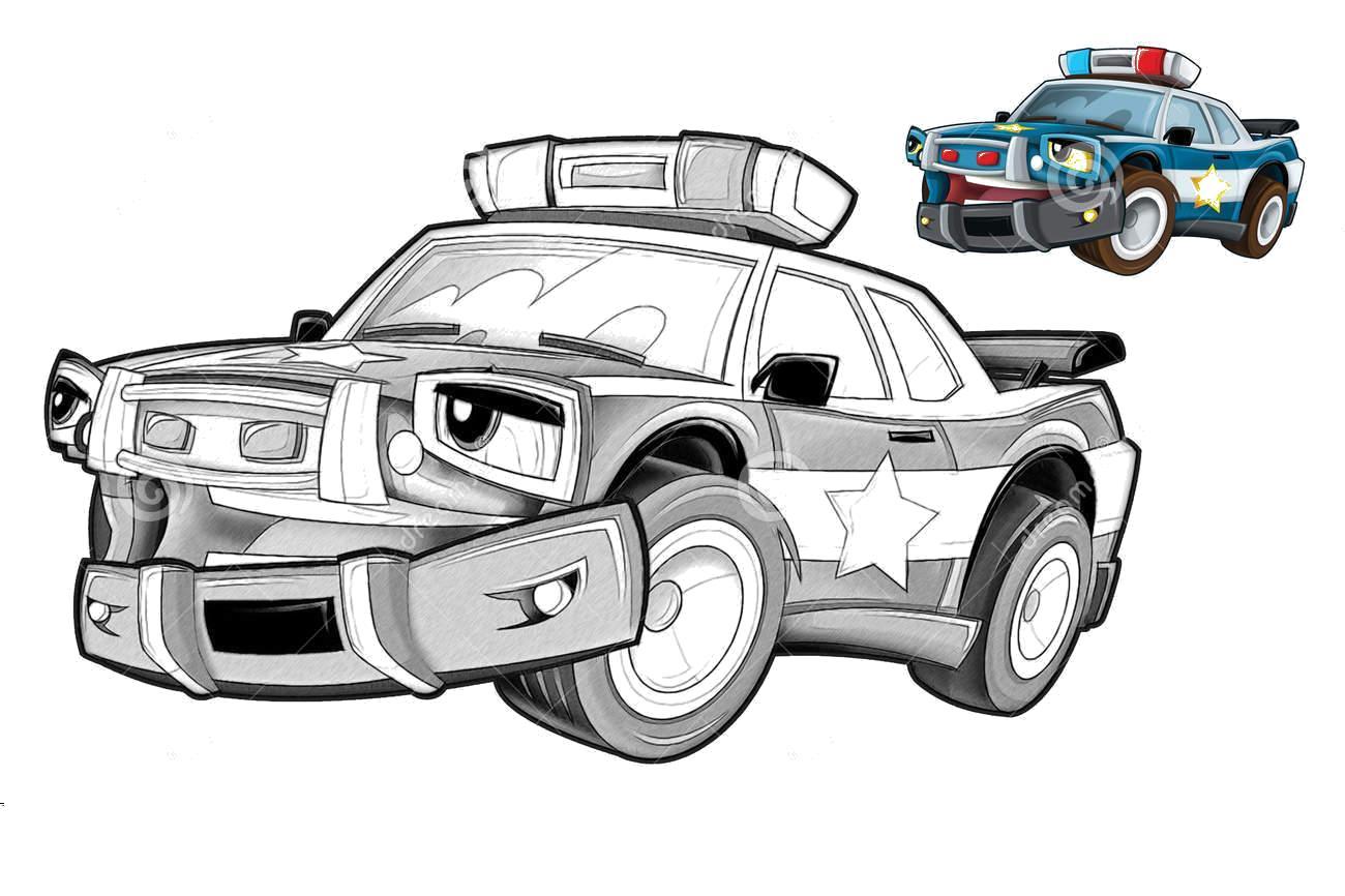Полицейская машина по образцу Раскраски машины