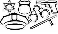 Обмундирование полицейского наручники пистолет дубинка значек Раскраски машины
