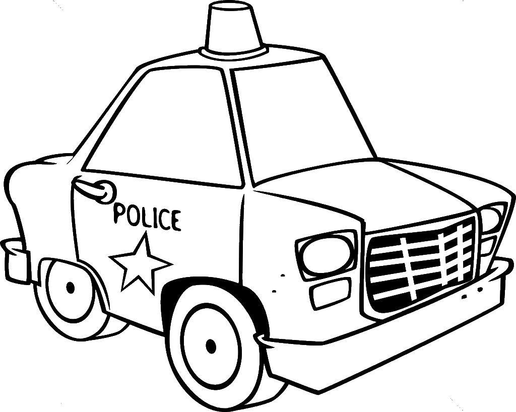 Маленькая полицейская машина Раскраски машины