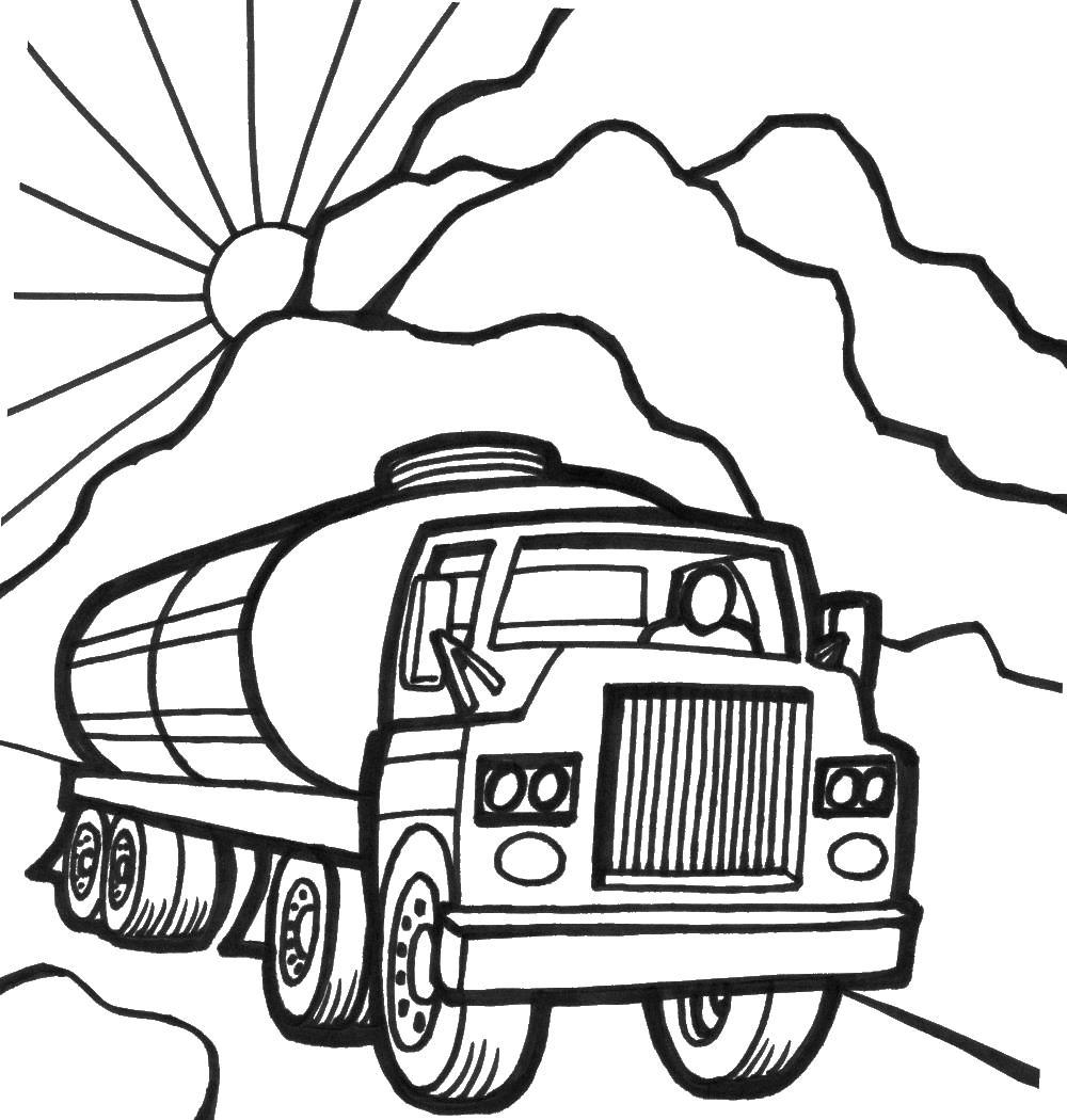Бензовоз едет на закате Раскраски машины