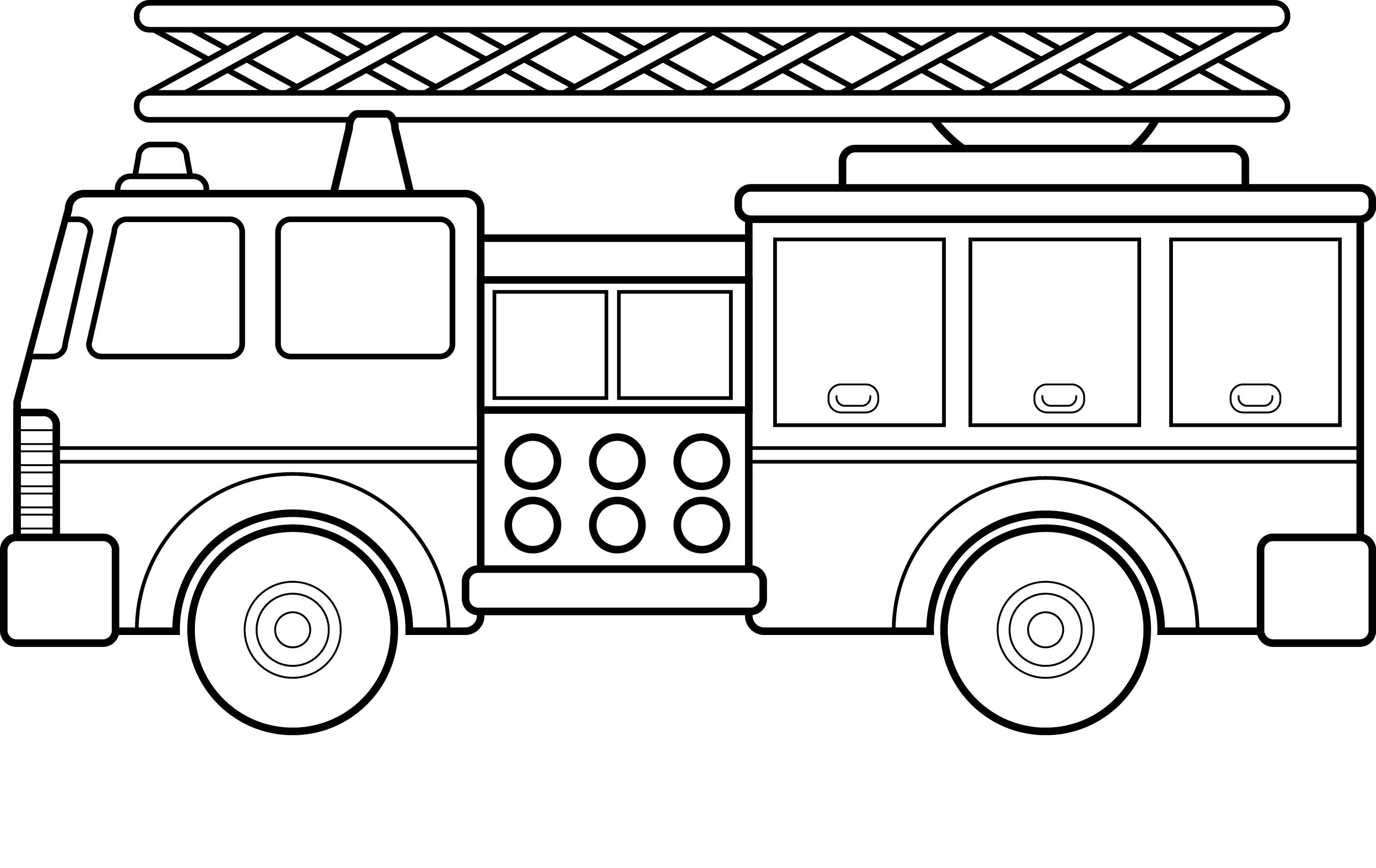 Пожарная машина с лестницей Раскраски машины бесплатно