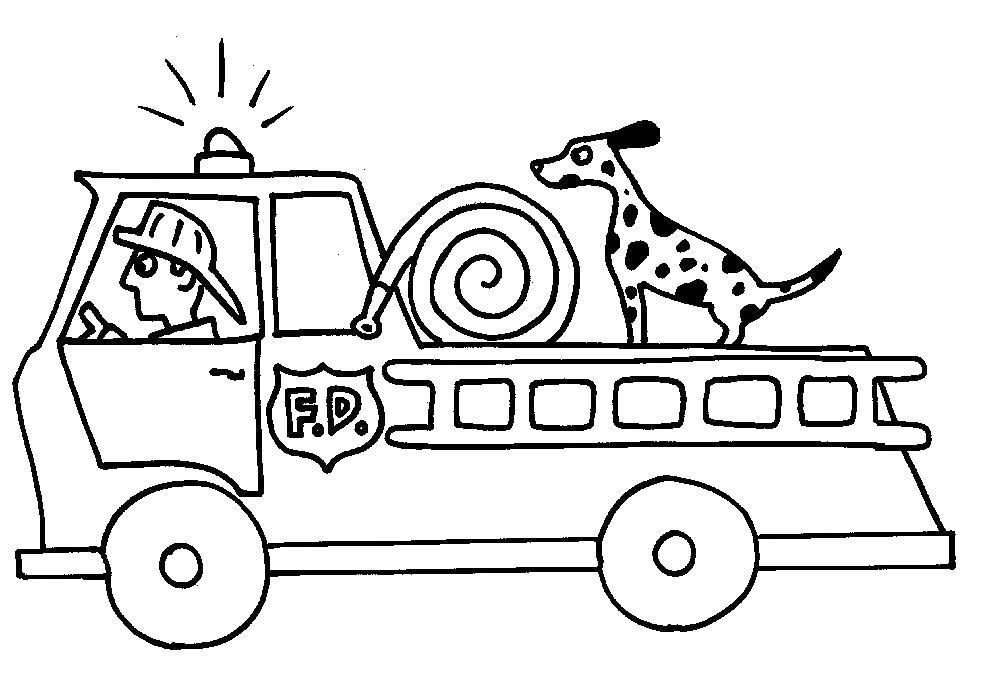 Пожарная машина с собакой Раскраски машины бесплатно