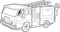 Пожарная машина и пожарники Раскраски машины бесплатно