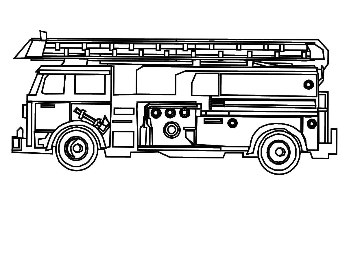 Пожарная машина вид  с боку Раскраски машины бесплатно