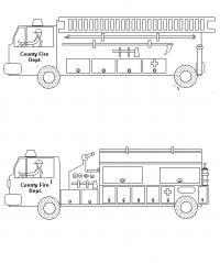 Пожарная бригада лестница и машина с помпой Раскраски машины бесплатно