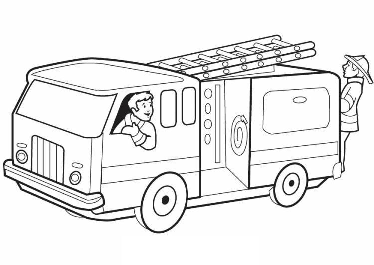 Пожарники едут на пожар Раскраски машины бесплатно