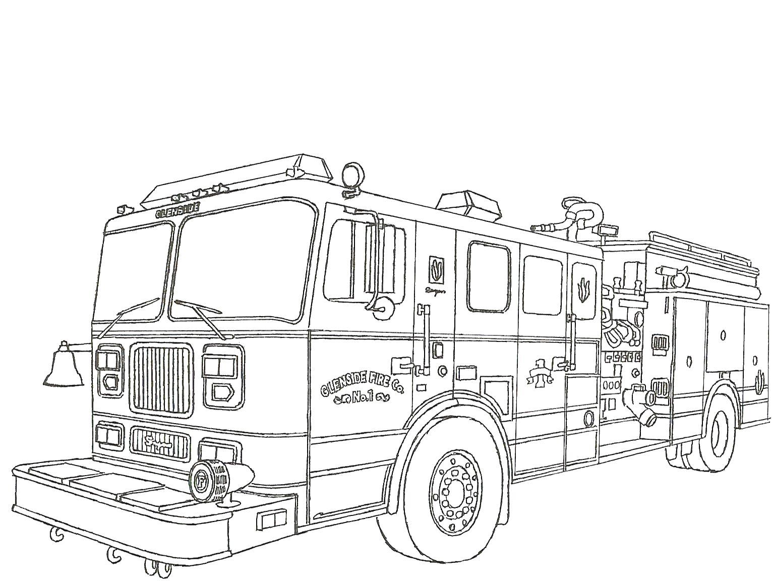 Очень большая пожарная машина Раскраски машины бесплатно