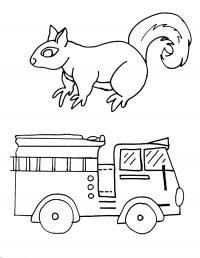 Белка и пожарная машина Раскраски машины бесплатно