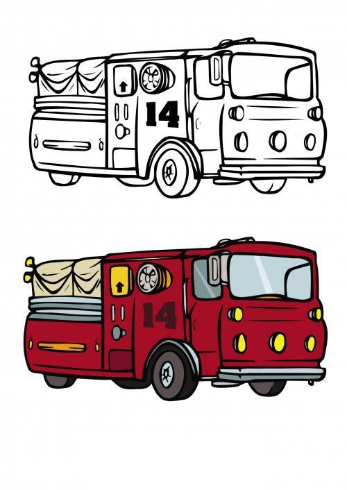 Пожарная машина 14 Раскраски машины бесплатно