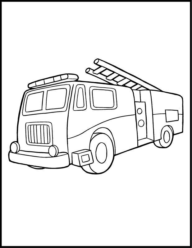 Пожарная машина с лестницей и мигалками Раскраски машины скачать