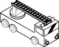 Квадратная пожарная машина с лестницей Раскраски машины бесплатно