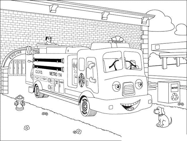Веселая мультяшная пожарная машина Раскраски машины для мальчиков