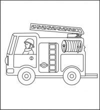 Смелый пожарник едет на пожар Раскраски машины бесплатно
