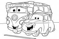 Автобус фольцваген и тачка Скачать раскраски для мальчиков