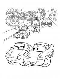 Машины разбились по парам Скачать раскраски для мальчиков