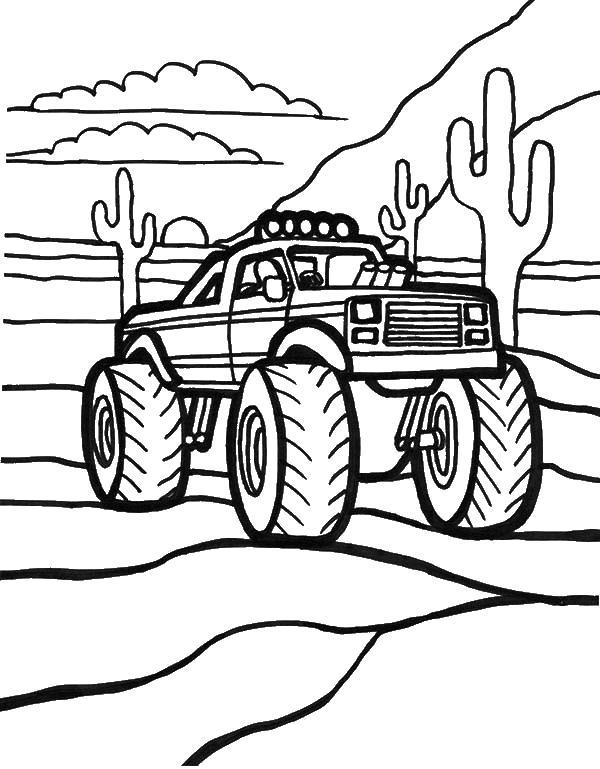 Внедорожник в пустыне с кактусами Картинки раскраски машины