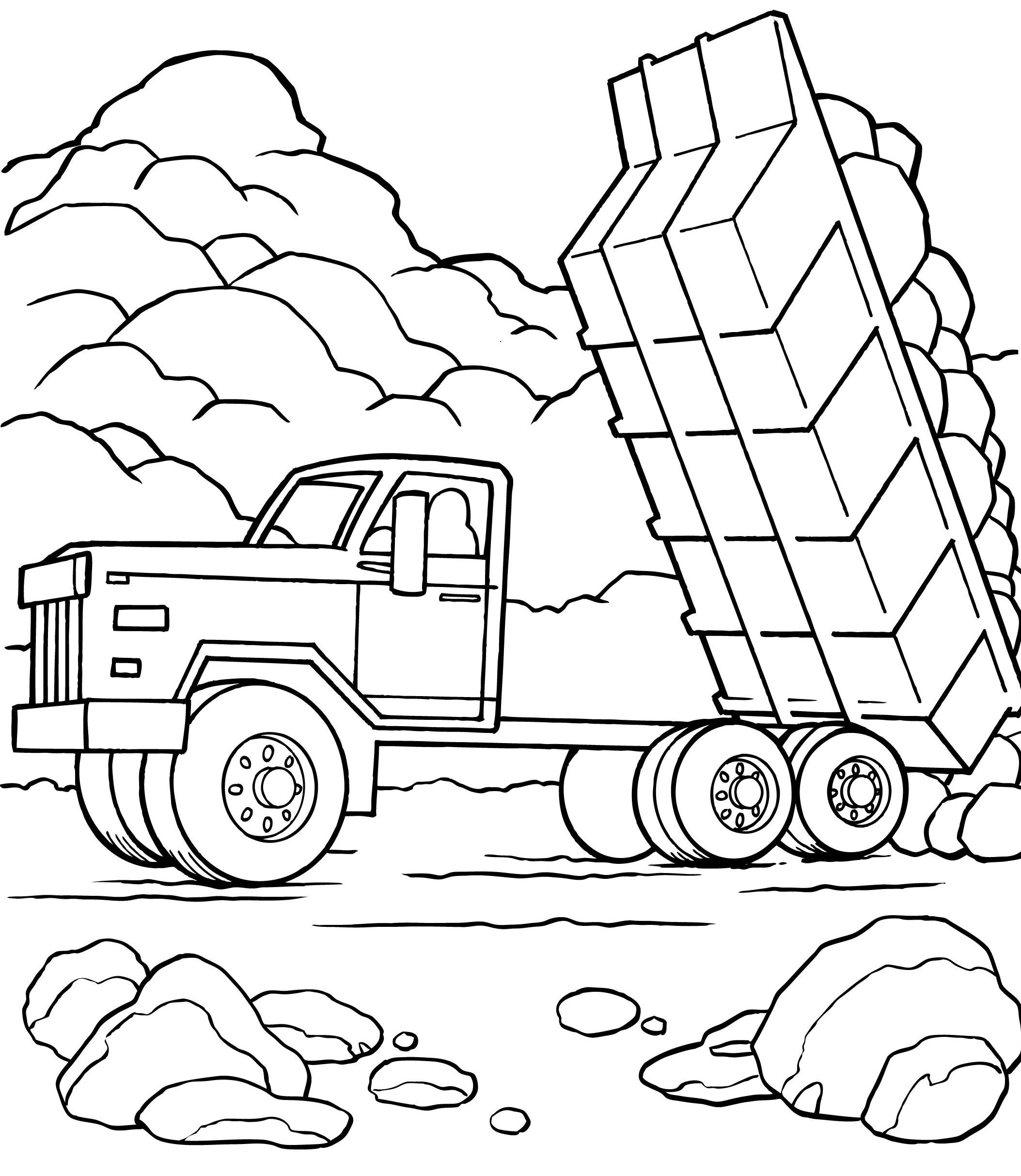 Самосвал зил сгружает булыжники Раскраски машины