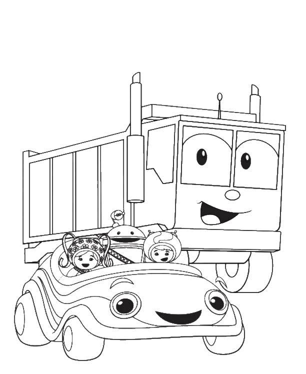 Девочки с андроидом на машине и самосвал Скачать раскраски машины