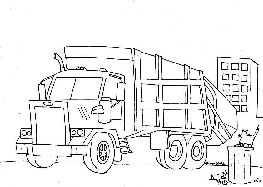 Машина убирает мусор и кот на мусорном бачке Скачать раскраски для мальчиков