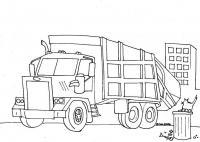 Машина убирает мусор и кот на мусорном бачке Скачать раскраски машины