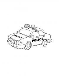 Полицейская машина с мигалками и громкоговорителем Раскраски машины для мальчиков