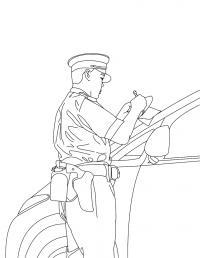 Полицейский выписывает штраф Раскраски машины для мальчиков