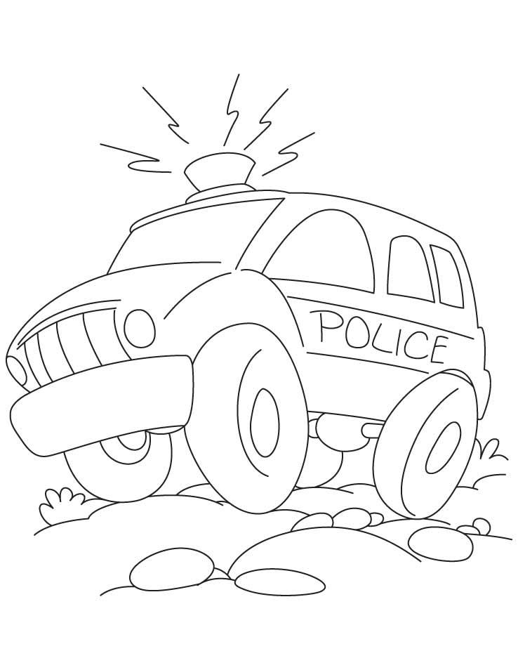 Полицейский джип едет по бездорожью Раскраски машины