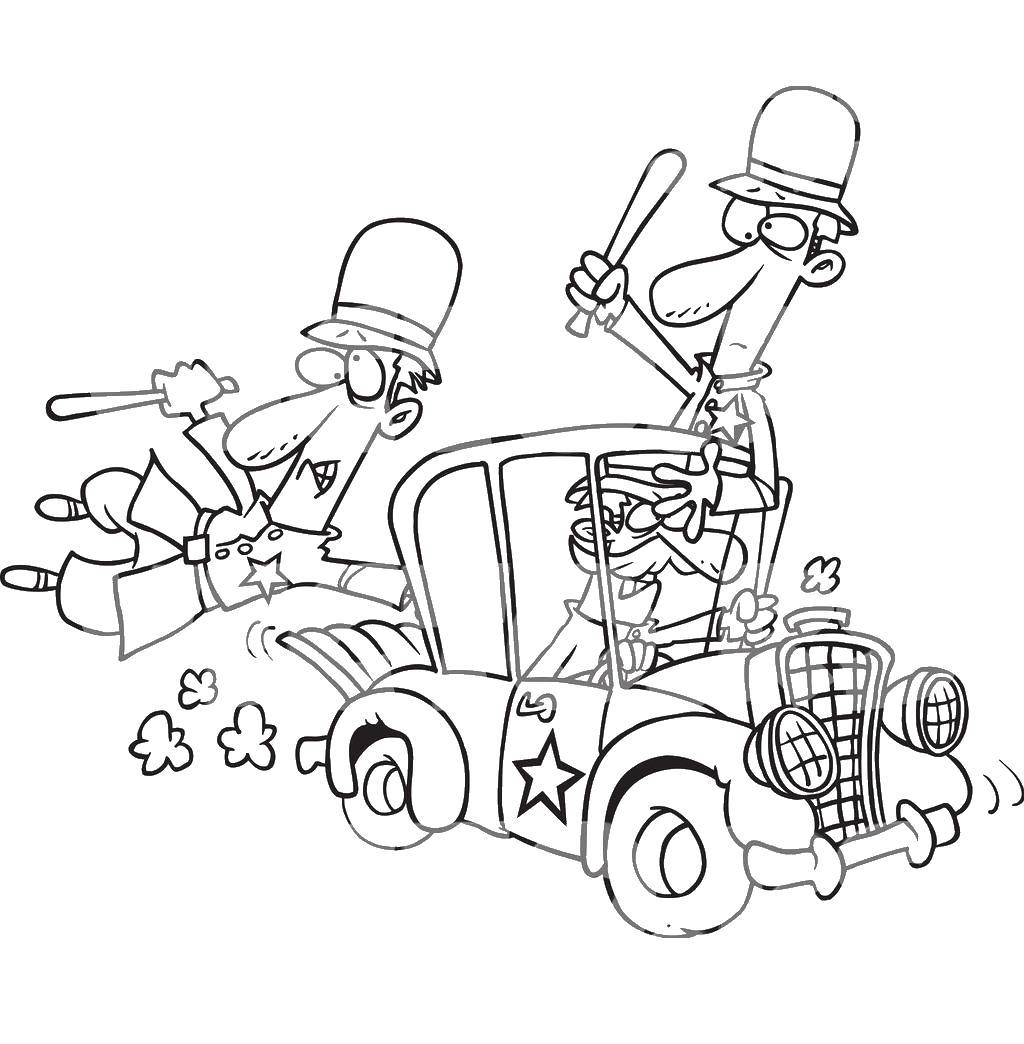 Полицейские едут на задание карикатура Скачать раскраски для мальчиков