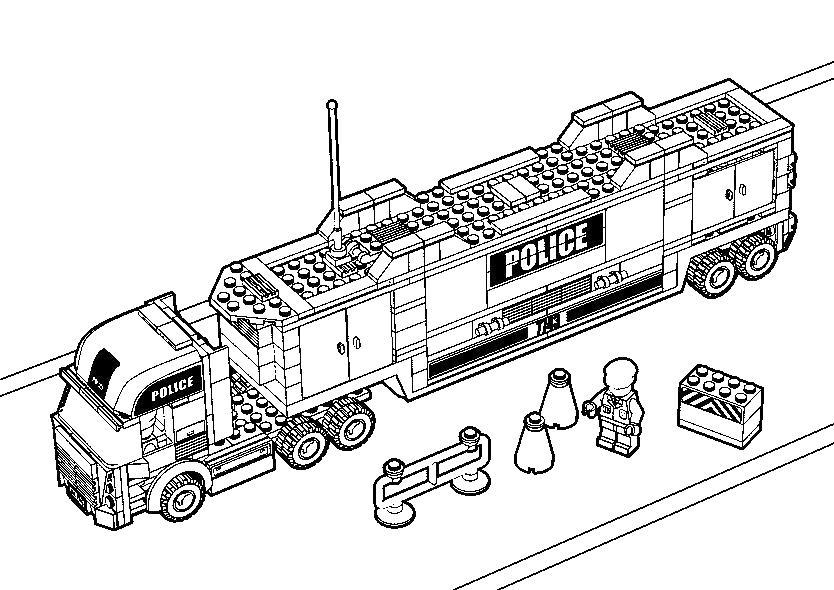 Лего полицейский грузовик Раскраски машины для мальчиков