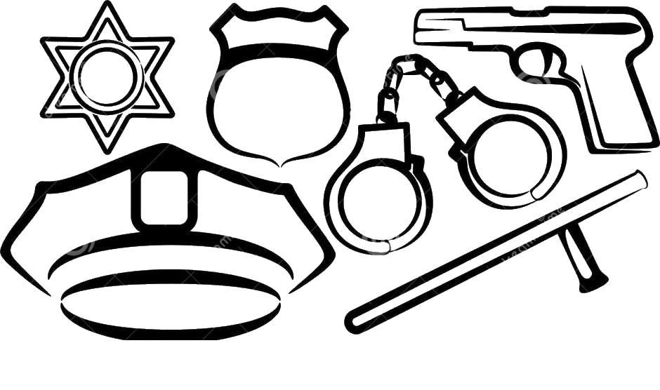 Обмундирование полицейского наручники пистолет дубинка значек Раскраски машины для мальчиков