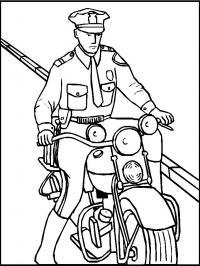 Полицейский на мотоцикле Раскраски машины