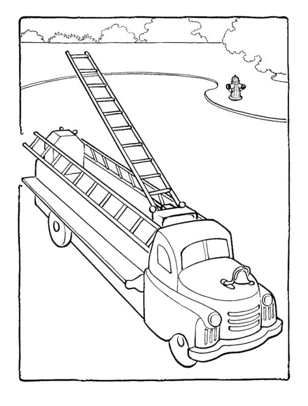 Большая лестница на машине Раскраски машины бесплатно