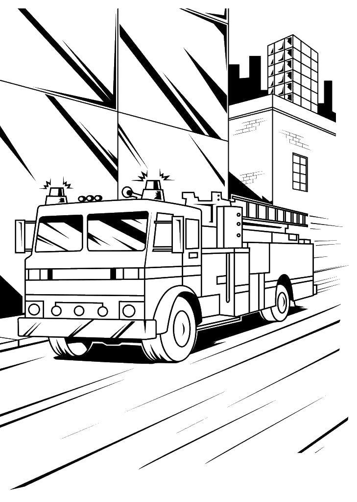 Пожарная машина в городе спешит на пожар Раскраски машины бесплатно