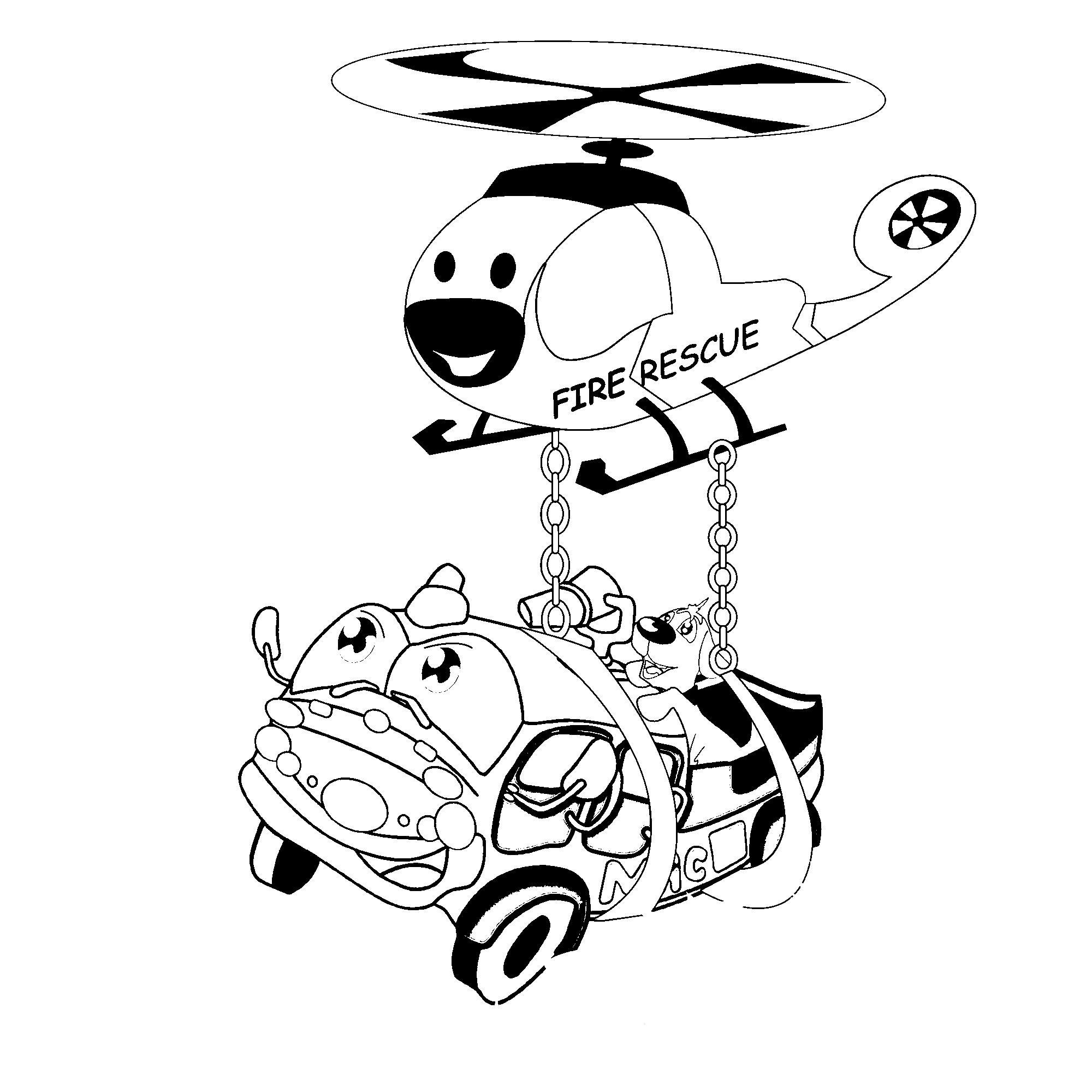 Пожарный вертолет Раскраски машины бесплатно