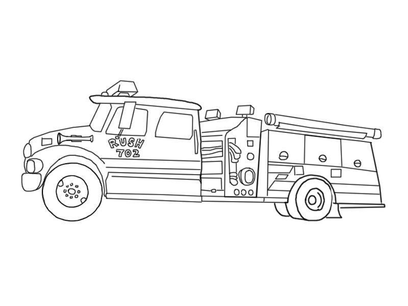 Пожарная машина руш 702 Раскраски машины бесплатно