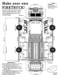 Вырежи и склей пожарную машину Раскраски машины бесплатно