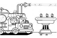 Китти пожарник Раскраски машины бесплатно