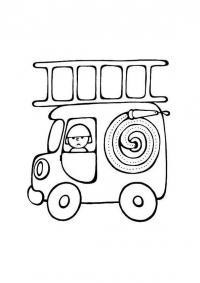 Пожарная машина с большим шлангом Раскраски машины бесплатно