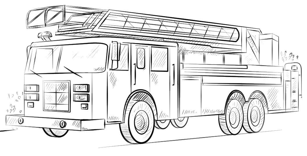 Пожарная машина с огромной лестницей Раскраски машины бесплатно