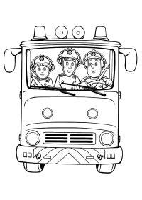 Пожарники в касках едут на пожар Раскраски машины бесплатно