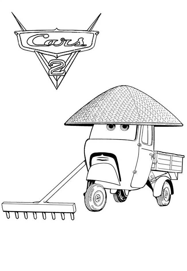 Тачки 2 машина уборщик огорода Скачать раскраски для мальчиков
