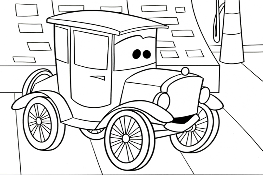 Ретро автомобиль из мультфильма Скачать раскраски для мальчиков