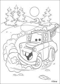 Машина с краном в лесу Скачать раскраски для мальчиков