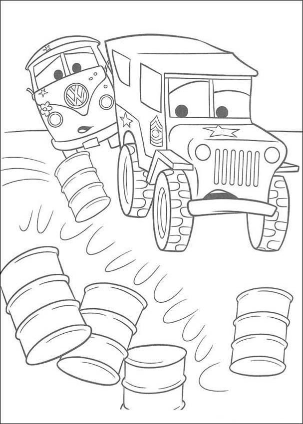 Военный грузовик и микроавтобус Скачать раскраски для мальчиков